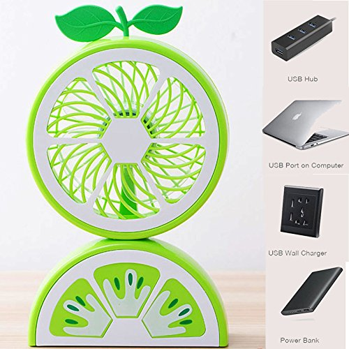 (USB Mini Desktop Fan Fruit shape - Table Small Fan Portable Desk Personal Fan Compatible With Computer,Laptops Power banks Fans Quiet Cooling For Office And Home 8.5 Inch USA Seller (Green))