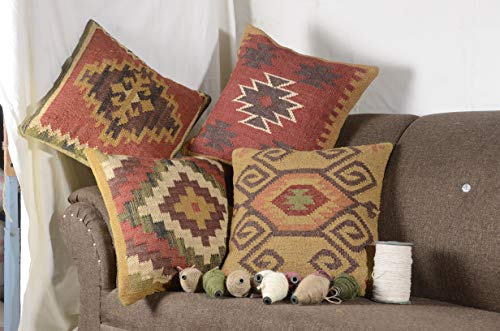 Chouhan Rugs 4 PCS Set of Indian Kilim Cushion Cover 18X18 Pillows Boho Ethnic Shams Jute Pillow Cases Rug Boho Shams ()