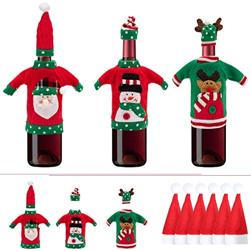 (Apipi 9 Pack Ugly Christmas Sweater Wine Bottle Covers kit - 3 Pack Holiday Bottle Covers Gift and 6 Pack Santa Claus Hat Cutlery Bags Set for Ugly Christmas Sweater Party Table Decorations)
