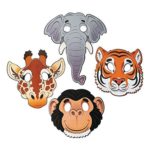 Fun Express Paper Zoo Animal Masks - 12 (Tiger Mask For Kids)