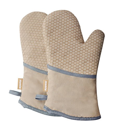 Kitchen Oven Mitts With Non-Slip Silicone Printed - 1 Pair o