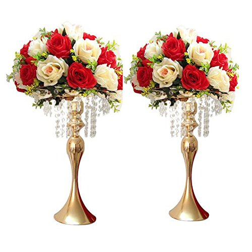 "LANLONG 2pcs 43cm(17"") Tall Wedding Table Centerpiece, Candle Holder, Candlestick, Road Lead Flower Stand, Wedding Home Christmas Decoration (Gold, 17"")"