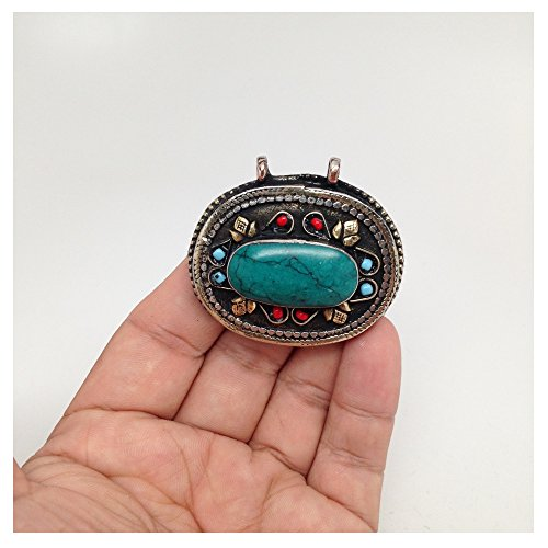 Vintage Afghan Turkmen, Kuchi Tribal Oval Shape Green Turquoise Inlay Pendant Afghanistan Bib Statement Bohemian (Inlay Rectangle Pendant)