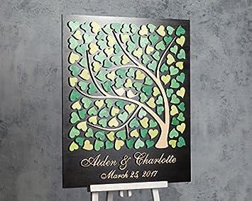 Amazon.com: Personalizado árbol libro de invitados de boda ...