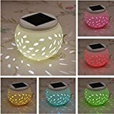 TechCode Solar Lamp Ball, [Ceramics] Solar Color Changing Wall Light Solar Lantern Table Lights Decoration Lighting For Garden,Outdoor Lawn,Yard,Path,Patio,Festival Decorations/Great Gift(L Size)