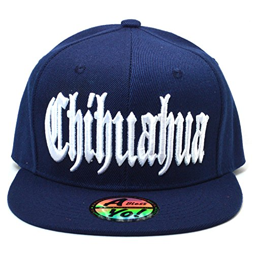 702c9b49d53 Chihuahua Mexico City Fitted Hat Closed Back Flat Bill Snapback Cap AYO4317  (Navy