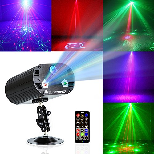 Party Lights DJ Disco Light RGB 3 Lens 36 Patterns Projector GOOLIGHT Mini LED Strobe Sound Activated Stage Lights Indoor for Birthday Parties Wedding Karaoke KTV Bar Christmas Halloween Decorations ()