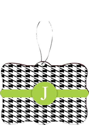 Rikki Knight RKWS-SQORN-46308 Christmas Tree Ornament/Car Rear View Mirror Hanger Letter ''J'' Lime Green Houndstooth Monogram Design by Rikki Knight