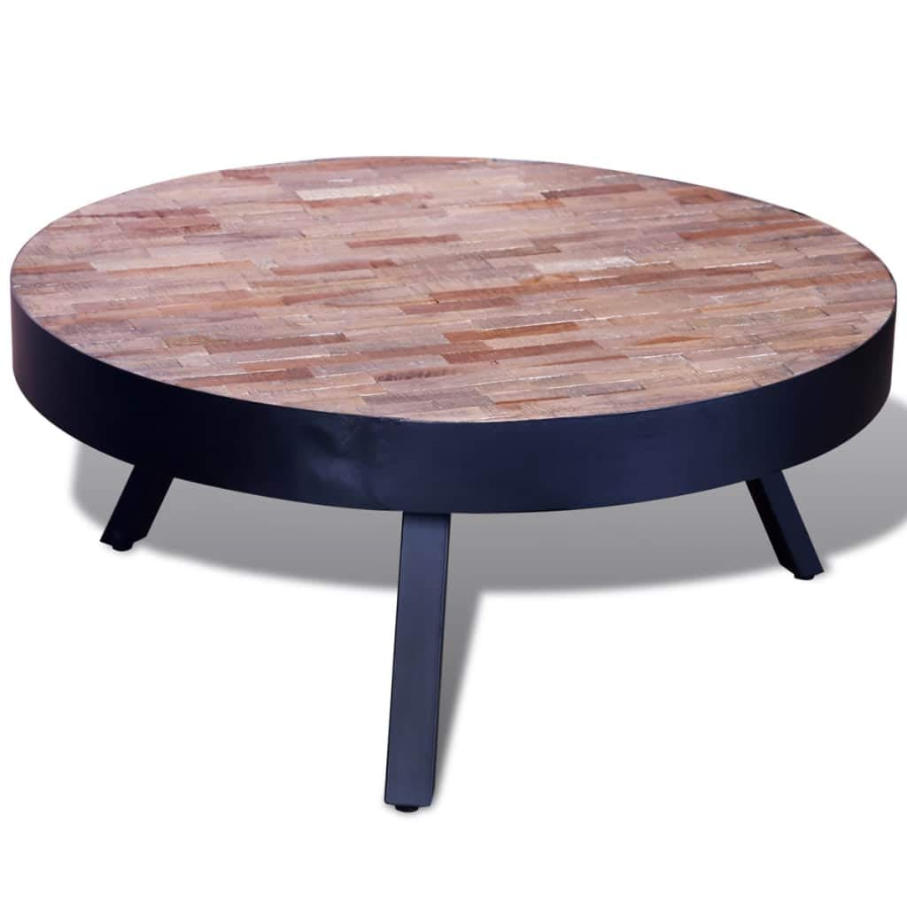 vidaXL Table Basse Ronde en Teck Recyclé Table de Canapé Table de