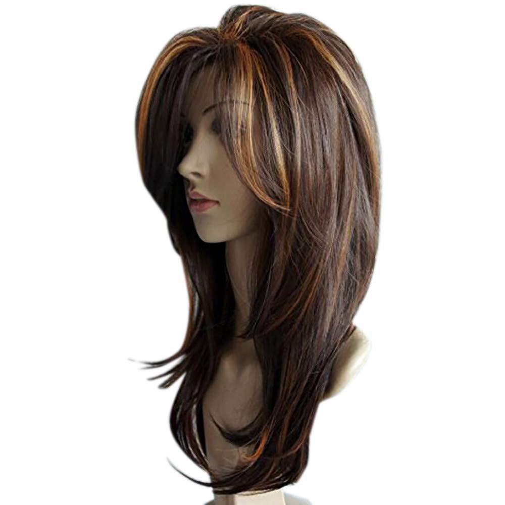 Malloom Femmes Dame Moyen Long Gradient Brun Boucl/és Cheveux M/élang/és Couleurs Perruques Synth/étiques pour La F/ête