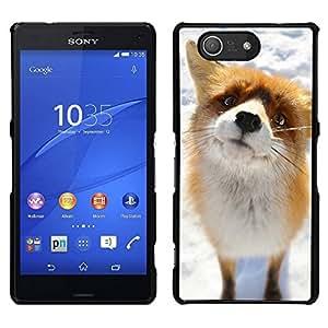 EJOY---Cubierta de la caja de protección para la piel dura ** Sony Xperia Z3 Compact ** --Arctic Fox lindo Nieve Naranja Goofy Animal