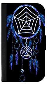 Neon Blue Dreamcatcher - Apple Iphone 5c -Wallet Case with Flip Cover and Magnetic Clasp-Leather-Look
