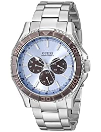 GUESS Men's U0479G2  Stainless Steel Watch featuring Ice Blue Multi-Function Dial with Day, Date & 24 Hour Int'l Time