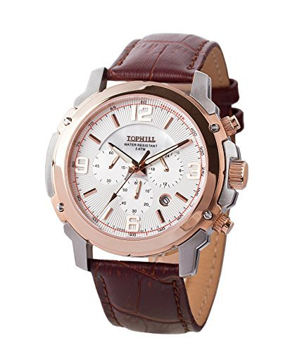 Tophill Men's Sc069 Quartz Wrist Watch Chronograph Brown Leather Strap Tachometer by Tophill