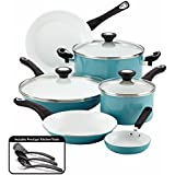 Farberware Purecook Ceramic Nonstick Cookware 12 Piece Cookware Set, Aqua