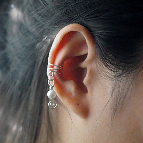40)Ear Cuff; Non Pierced Dangle Pearl Ear Cuff