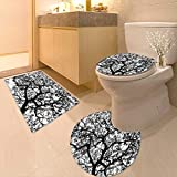 Non-Slip Bath Toilet Mat Forest Tree Branches Modern Decor Spooky Horror Movie Themed Print Black and White with High Absorbency