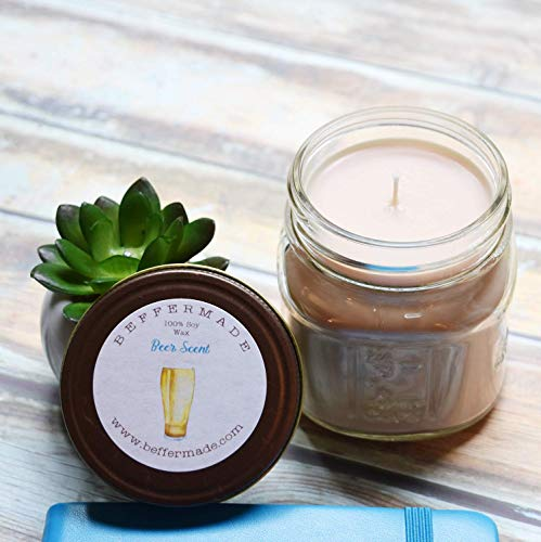 Beer Candle, Scented Soy Jar Candle, 8 oz