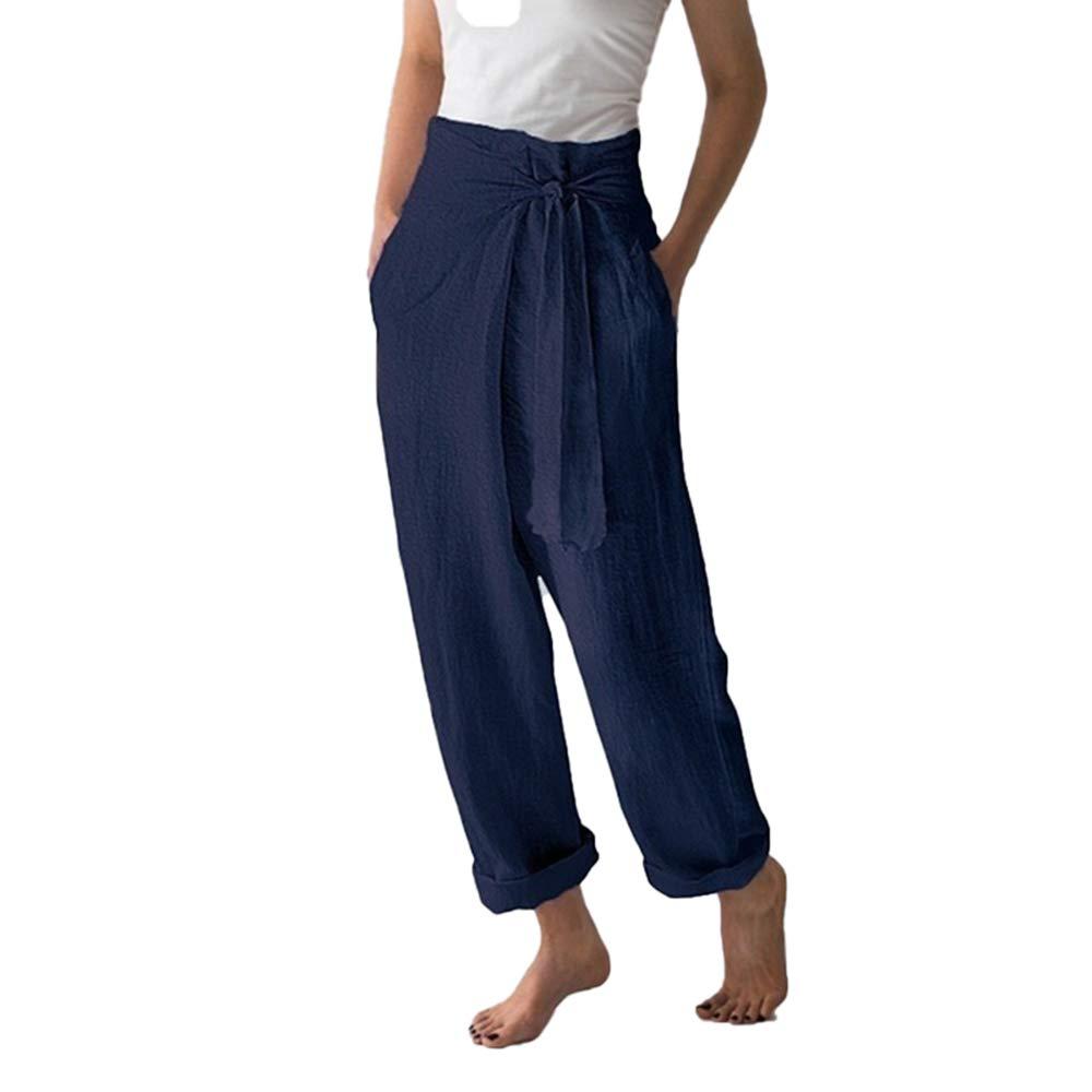 Aurgelmir Womens Casual High Waist Trousers Paper Bag Pants Elastic Waist Slim Pants with Pockets
