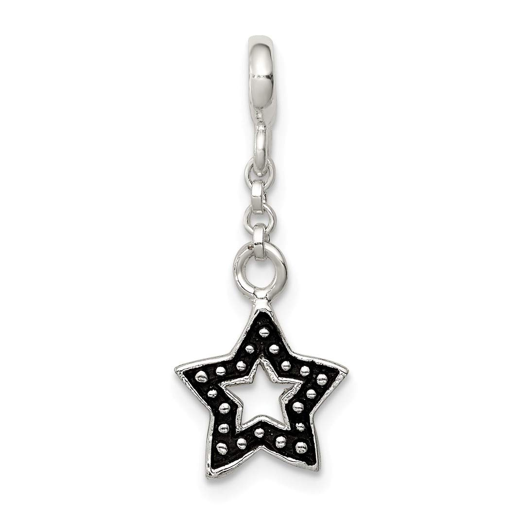 ICE CARATS 925 Sterling Silver Enameled Star 1/2in Dangle Enhancer Necklace Pendant Charm Celestial Fine Jewelry Ideal Gifts For Women Gift Set From Heart