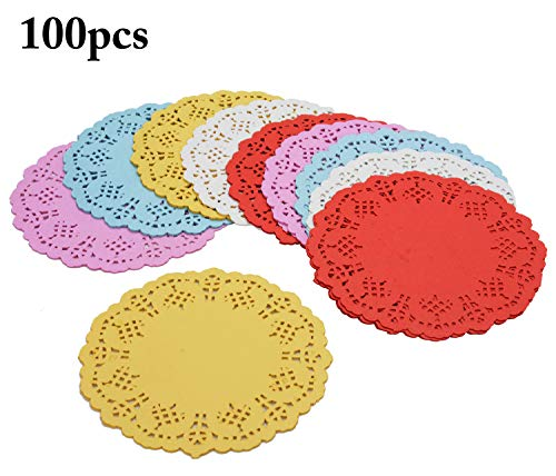 Paper Doilies,Coxeer 100PCS Doilies Paper Lace Colorful Round Paper Lace Doilies for Cakes, Desserts, Ideal for Wedding,Formal Event Decoration, Tableware Decor, Party Decor 5.5 In]()