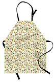Lunarable Gardening Apron, Seasonal Symbols in the Backyard of Twin Dwarfs Fences Spotted and Plant Pots, Unisex Kitchen Bib Apron with Adjustable Neck for Cooking Baking Gardening, Multicolor