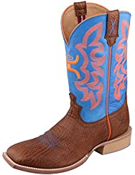 Twisted X Mens Hooey Boot Bull Hide/Neon Blue
