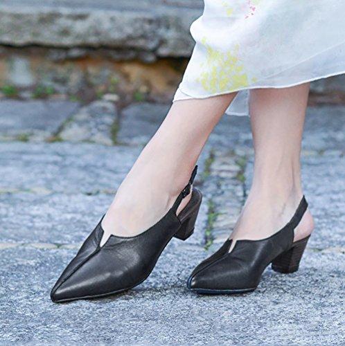 Zapatos Con Negro Retro 40 Planos Sandalias SHOE Desgaste Puntiagudo De De Azul Respirable 35 Yardas Resistente Color Negro Confort YNXZ Rojo Suela Goma Cuero Aldaba Al Las Beige Mujeres Grueso xwOBWAq0