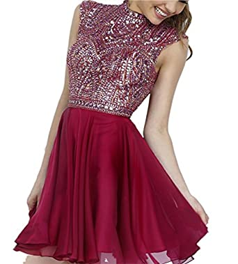 Miss Chics Chiffon High-neck Short Beaded Prom Dress Homecoming Dress for Girls(12