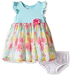 Bonnie Baby Baby Knit To Floral Sheer Print Dress, Aqua, 18 Months