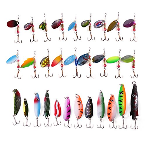 30PCS Metal Fishing Lures with Treble Hooks by LotFancy - Assorted Inline Spinner Baits & Spoons for Bass Salmon Trout Freshwater