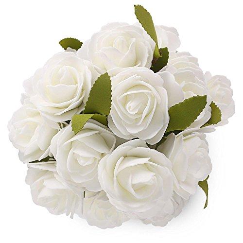 Foam Flower SOLEDI 6 Heads Roll Heart Artificial Roses For Bouquet DIY Wedding Arrangements Home Party Hotel Garden Decor -5 Bundles (Sunny Day Rose Bouquet)