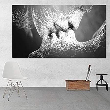 BAYUE Pintura al óleo abstracta sin marco Love Kiss Wall Art Canvas Prints Pictures for Living Room Modern Pictures Home Decoration (Color : Love kiss, Size (Inch) : 70x140cm)