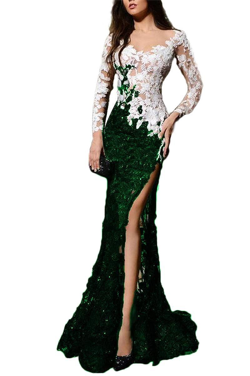 Emeraled Green SDRESS Women's Appliques Long Sleeve VNeck Side Slit Mermaid Formal Prom Dress