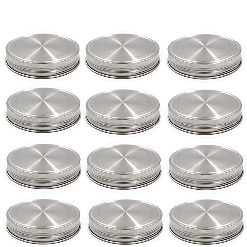 Stainless Steel Mason Jar Lids, Storage Caps with Silicone Seals for Wide Mouth Size Jars, Polished Surface, Reusable and Leak Proof, Pack of 12