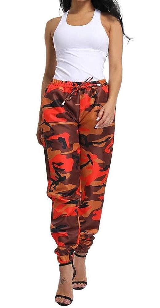 c06b63258ce Vertvie Femme Pantalon Chino Casual Imprimé Camouflage Taille Haute avec  Cordon de Serrage Pants Sport Jogging ...