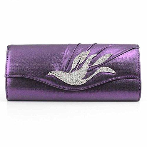 Señoras Bolsos Cuero De La PU Brillante Manera Hembra Bolso De Tarde Teléfono Celular Bolso Cosmético Purple