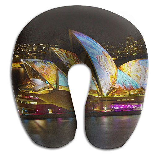 Laurel Neck Pillow Sydney Opera House Bright Travel U-Shaped Pillow Soft Memory Neck Support for Train Airplane Sleeping ()