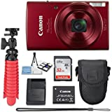 Canon PowerShot ELPH 190 20 MP IS Digital Camera (Red) with 10x Optical Zoom Fixed Lens + 32GB Memory Card + Flexible Spider Tripod + Travel Camera Case + Point & Shoot Camera Accessories Bundle