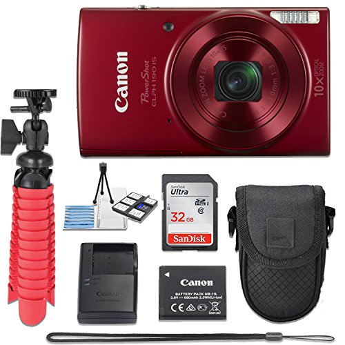 Canon PowerShot ELPH 190 20 MP IS Digital Camera (Red) with 10x Optical Zoom Fixed Lens + 32GB Memory Card + Flexible Spider Tripod + Travel Camera Case + Point & Shoot Camera Accessories Bundle by Canon