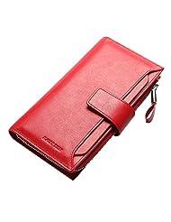Women's Genuine Leather Bifold Long BusinessCardHolder Money Clip Purse WalletQB102C