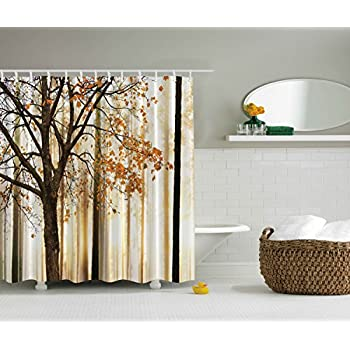 Extra Long Shower Curtain Fall Trees By Ambesonne Polyester Fabric Abstract Decorations Landscape Theme Art Print Bathroom Decor  Inches Orange Ivory