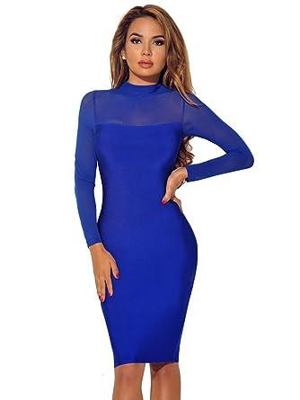 b7600b09cd04 HarlCloth Women s Royal Blue Sheer Mesh Long Sleeves High Neck Midi Dress