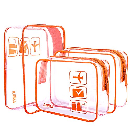 ANRUI Clear Toiletry Bag TSA Approved Travel Carry On Airport Airline Compliant Bag Quart Sized 3-1-1 Kit Travel Luggage Pouch 3 Pack (8. Orange) ()