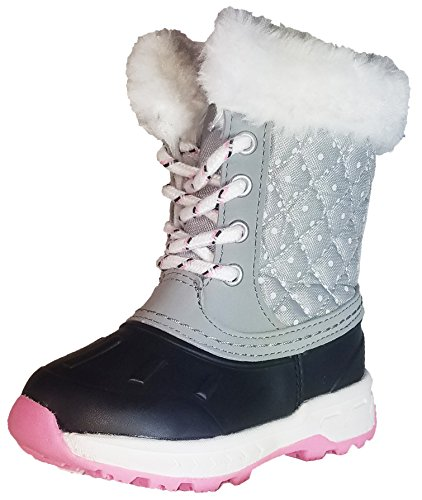 carter's Kids' Vermont2 Cold Weather Snow Boot (6 M US Toddler, Black/Grey Dot)