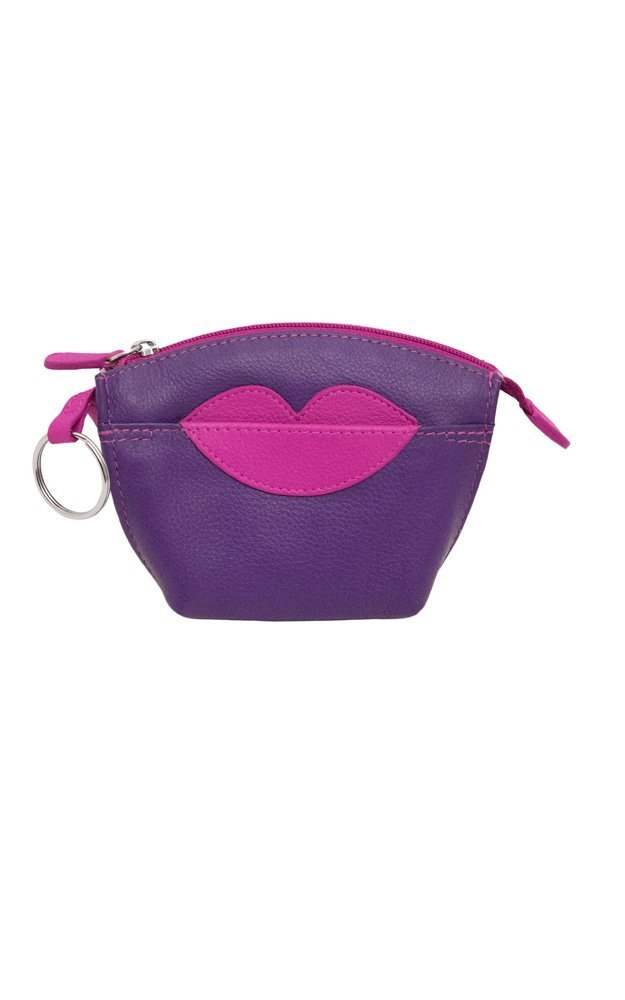 CCFW Hot Lips Leather Change Purse with Key Ring (Purple Hot Pink)