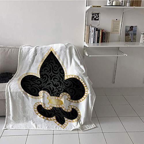 Khaki home Children's Blanket Lightweight All Season Blanket (60 by 62 Inch,Fleur De Lis Decor,Royal Legend Lily Throne of France Empire Family Insignia of Knights Image,Black Gold White