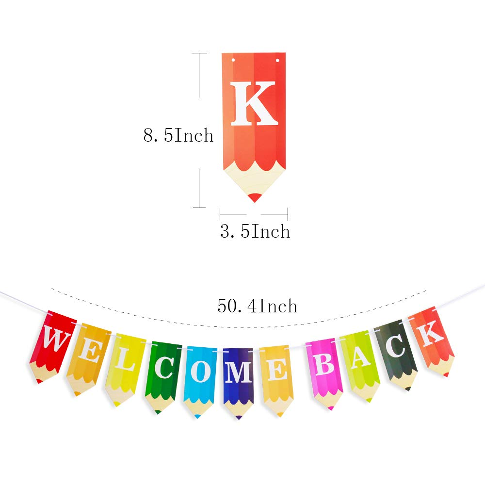 Welcome Back to School Students Banner Pencil Letters with 50pcs Circle  Dots Garland for New Grade of Class Pennant Classroom Decorations Party