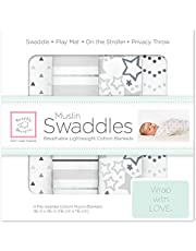 SwaddleDesigns Cotton Muslin Swaddle Blankets, Sterling Starshine Shimmer, 4ct (Parents' Picks Award Winner)