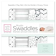 SwaddleDesigns Cotton Muslin Swaddle Blankets, Set of 4, Sterling Starshine Shimmer